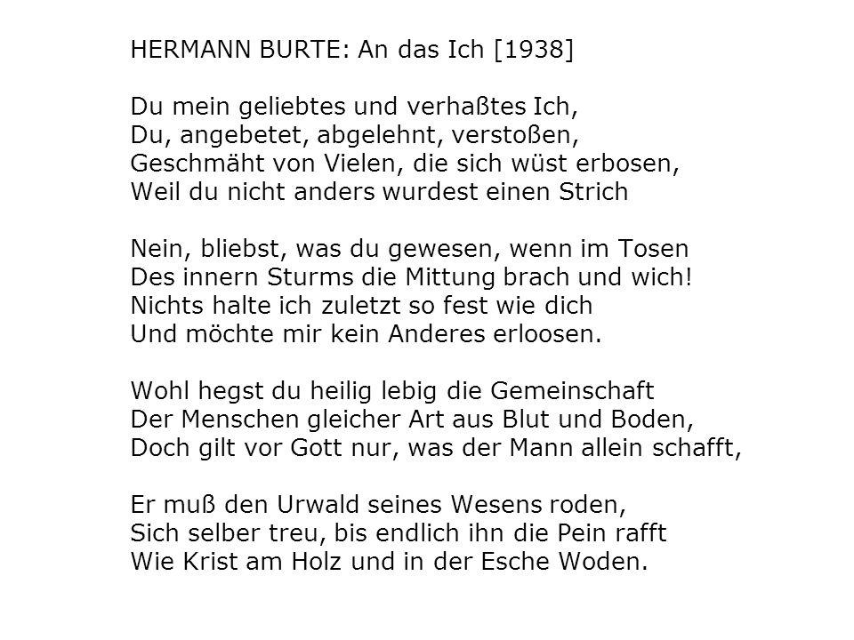 HERMANN BURTE: An das Ich [1938]